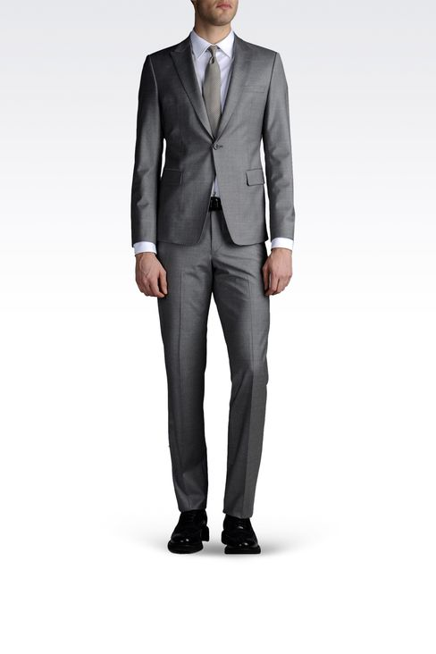 ONE-BUTTON SUIT IN STRETCH CHINTZED CLOTH: One button suits Men by Armani - 2