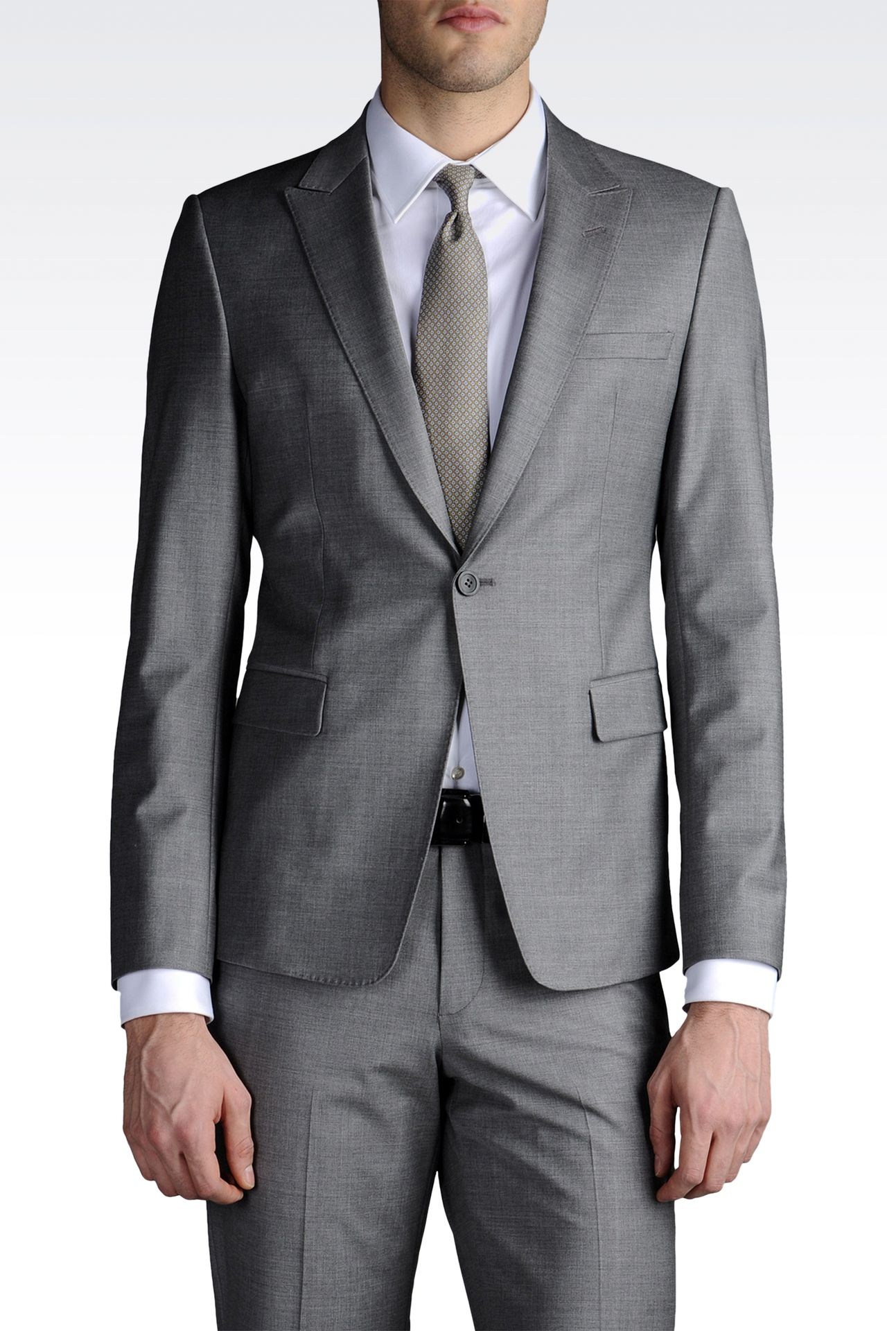 ONE-BUTTON SUIT IN STRETCH CHINTZED CLOTH: One button suits Men by Armani - 0