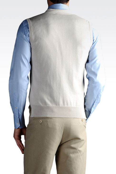 GILET IN SHAVED COTTON FULL ZIP: Gilets Men by Armani - 2