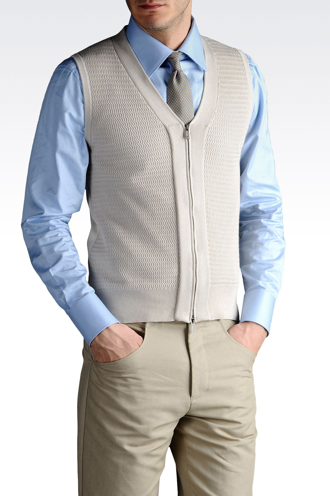 GILET IN SHAVED COTTON FULL ZIP: Gilets Men by Armani - 0