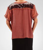 Silk Ayers Sequin Perforated Flower Top