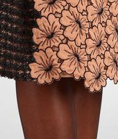Silk Embroidered Perforated Flower Skirt