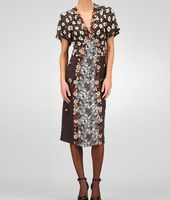 Silk Embroidered Marguerite Print Dress