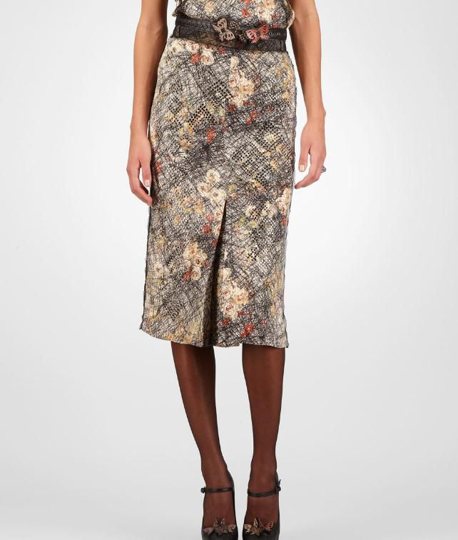 Silk Embroidered Studded Scribble Floral Print Skirt