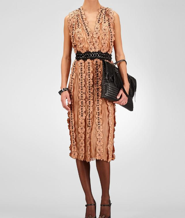 Light Silk Studded Embroidered Flower Dress