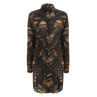 McQ, Shirt, Butterfly Camouflage Military Shirt Dress