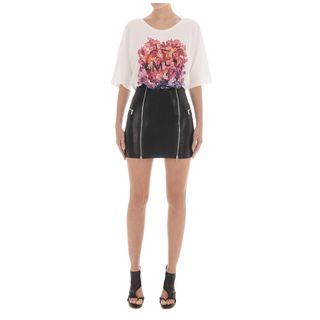 McQ, Skirt, Jet Black Double Zip Leather Skirt
