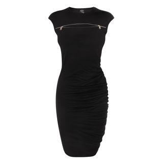 McQ, Dress, Jet Black Zip S-Bend Dress