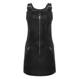 McQ, Dress, Jet Black Strap Leather Mini-Dress
