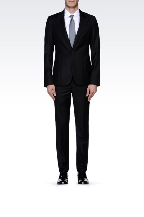 PINSTRIPE SUIT IN VIRGIN WOOL : One button suits Men by Armani - 1