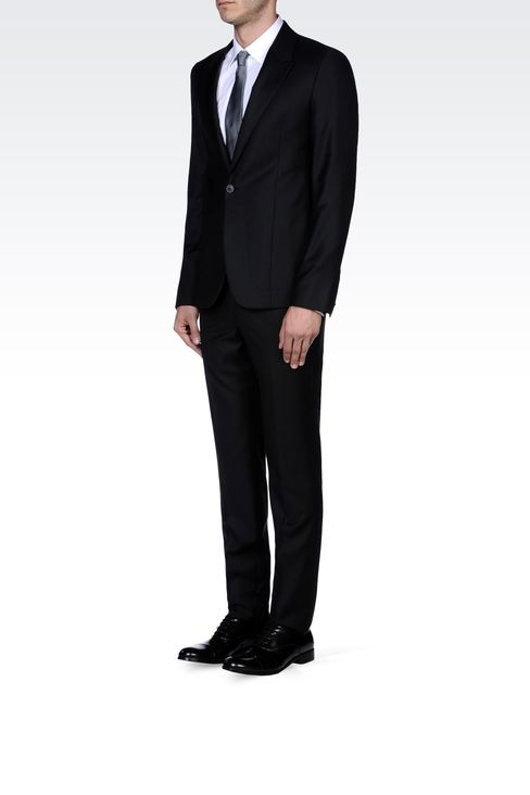 PINSTRIPE SUIT IN VIRGIN WOOL : One button suits Men by Armani - 2