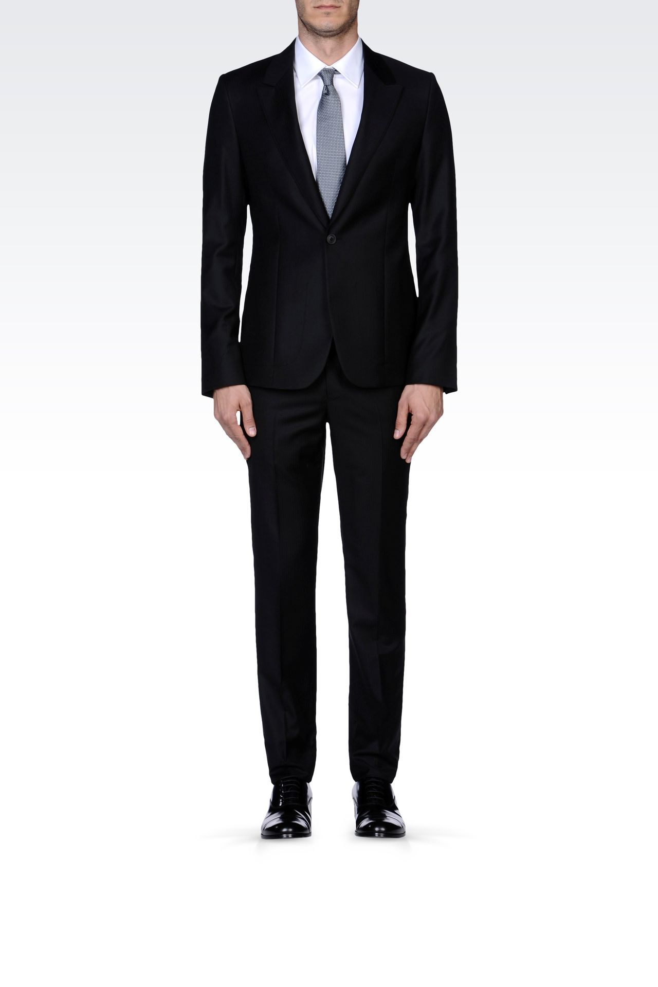 PINSTRIPE SUIT IN VIRGIN WOOL : One button suits Men by Armani - 0