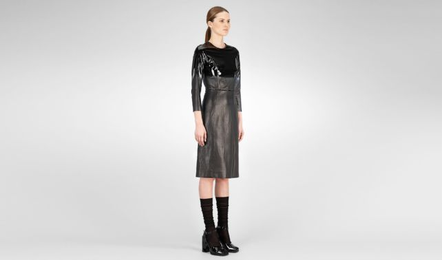 BOTTEGA VENETA - Glossed Lambskin Dress