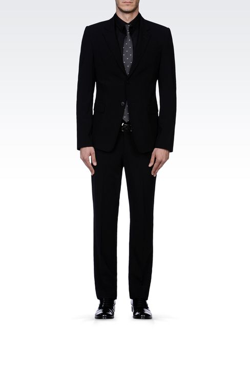 TWO-BUTTON SUIT IN STRETCH WOOL: Two buttons suits Men by Armani - 1