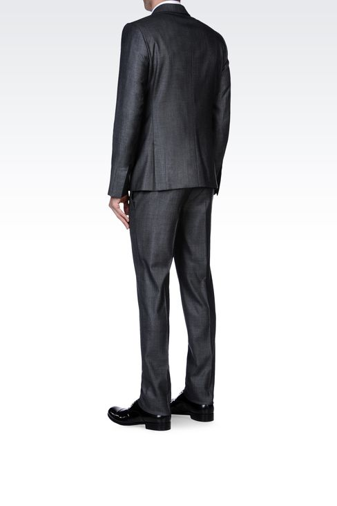 SUPREME SUIT IN STRETCH WOOL AND SILK: One button suits Men by Armani - 3