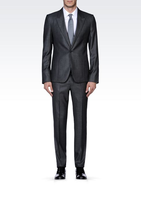 SUPREME SUIT IN STRETCH WOOL AND SILK: One button suits Men by Armani - 1