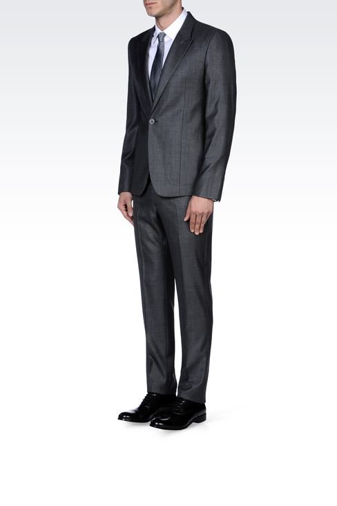 SUPREME SUIT IN STRETCH WOOL AND SILK: One button suits Men by Armani - 2