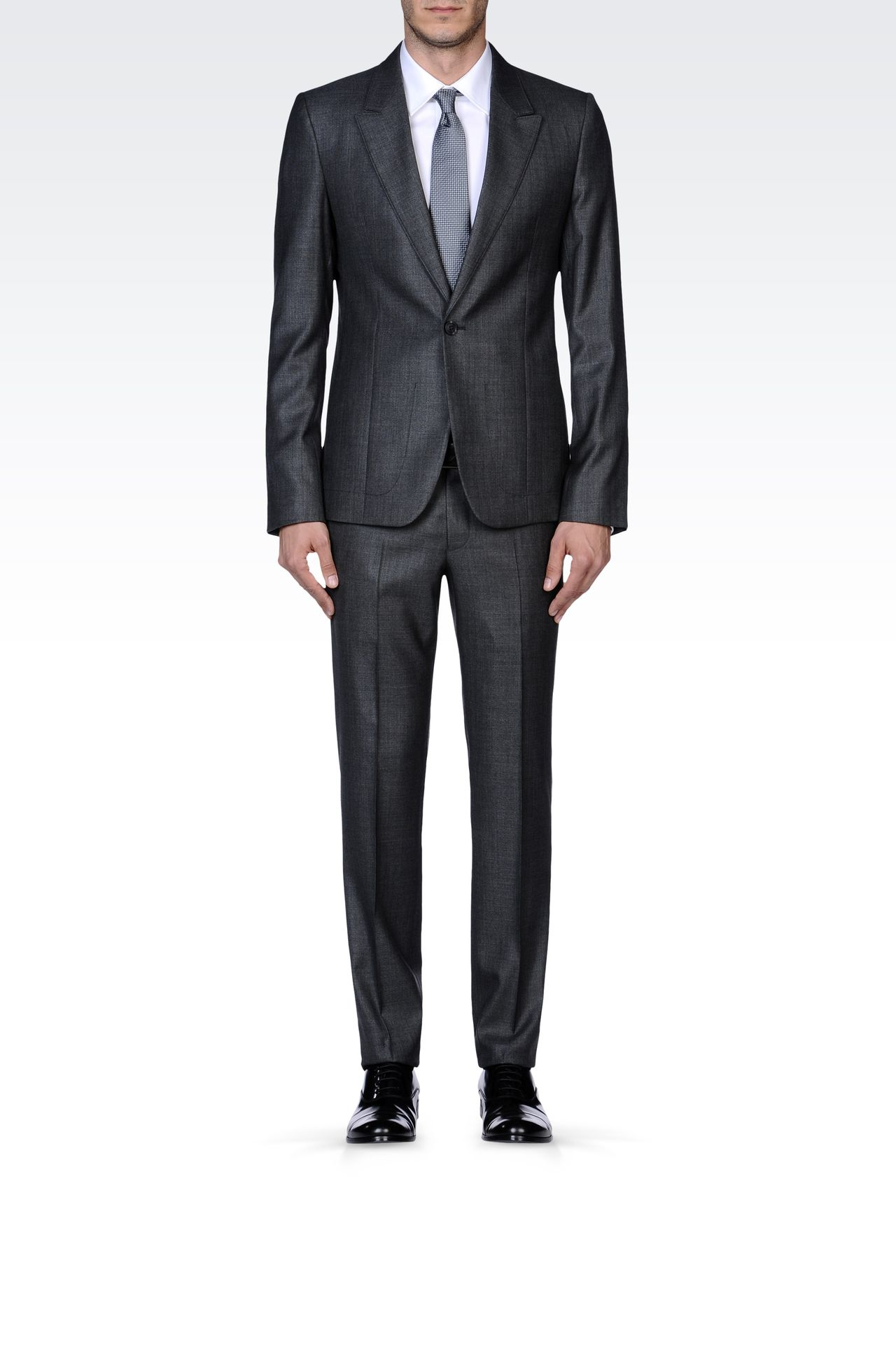 SUPREME SUIT IN STRETCH WOOL AND SILK: One button suits Men by Armani - 0