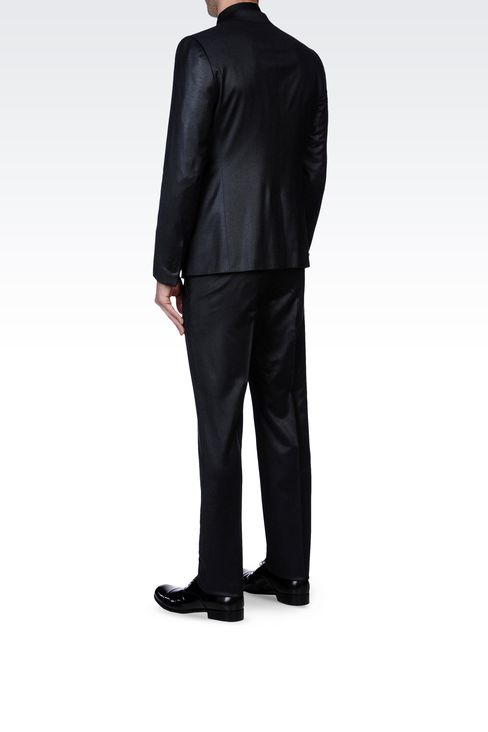 SLIM FIT SUIT IN FLANNEL: One button suits Men by Armani - 3