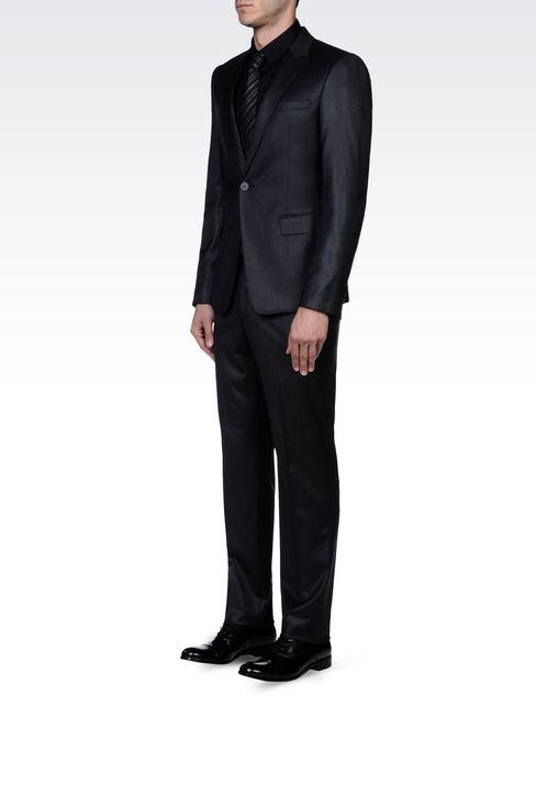 SLIM FIT SUIT IN FLANNEL: One button suits Men by Armani - 2