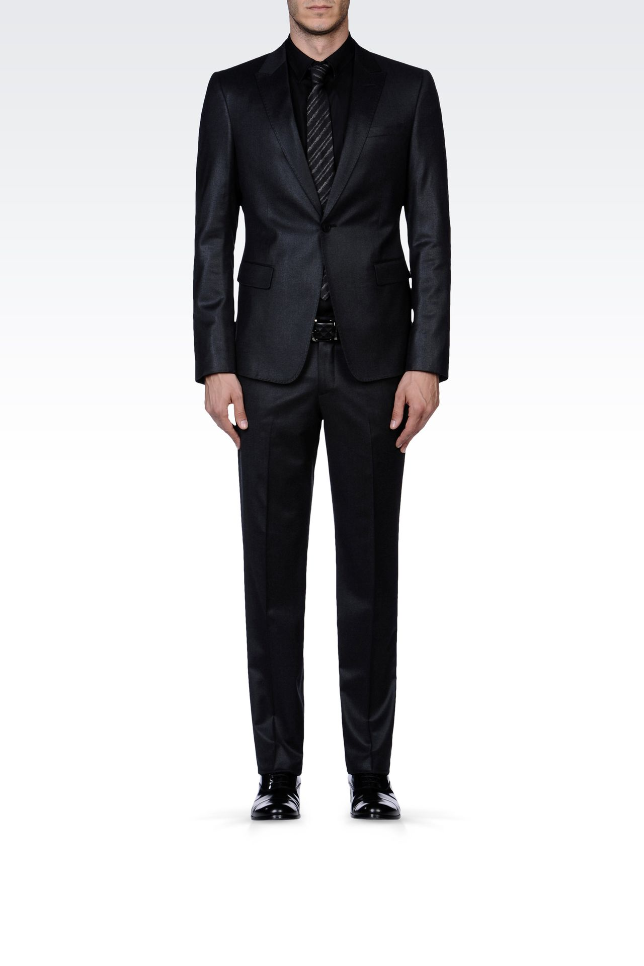 SLIM FIT SUIT IN FLANNEL: One button suits Men by Armani - 0