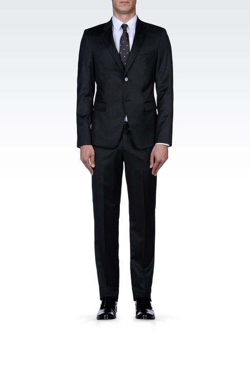 GREY PINSTRIPE SUIT IN VIRGIN WOOL: Two buttons suits Men by Armani - 1