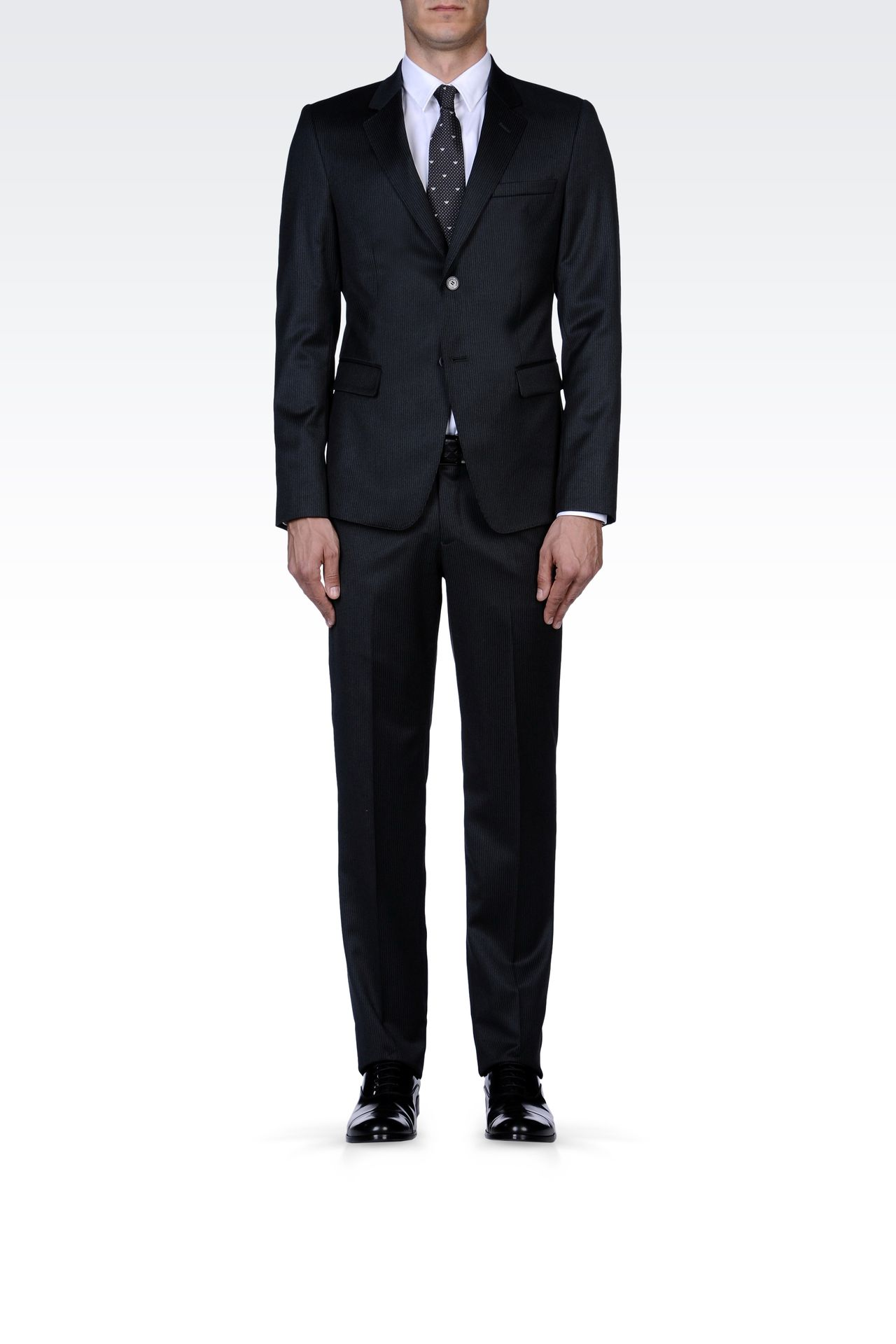 GREY PINSTRIPE SUIT IN VIRGIN WOOL: Two buttons suits Men by Armani - 0