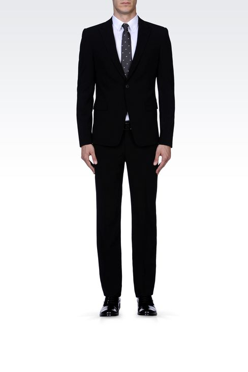SLIM FIT SUIT IN STRETCH WOOL: One button suits Men by Armani - 1