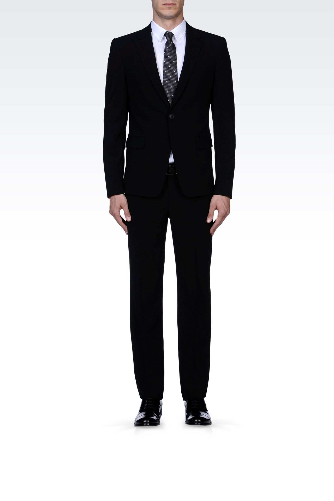 SLIM FIT SUIT IN STRETCH WOOL: One button suits Men by Armani - 0