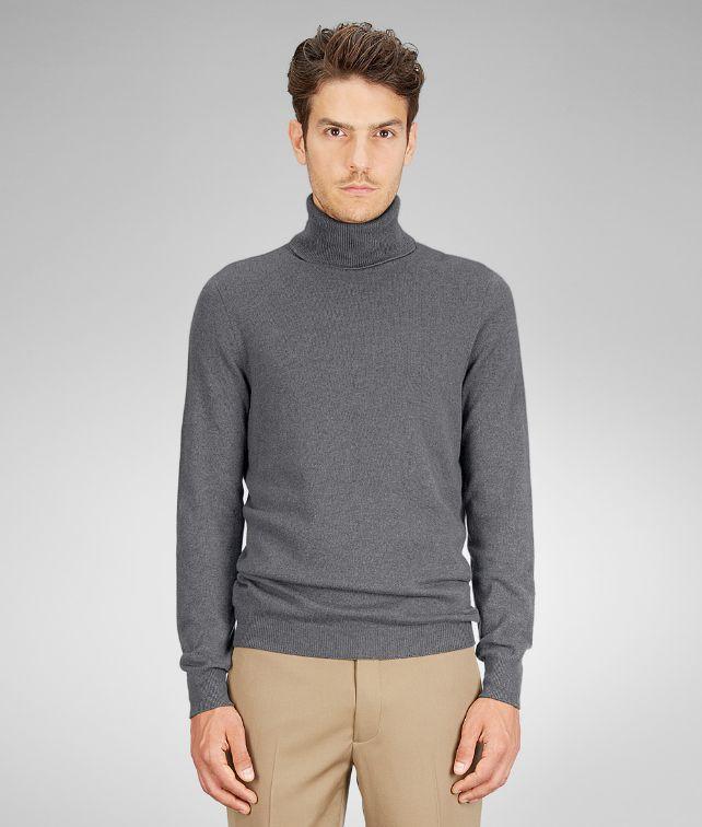 BOTTEGA VENETA Ardoise Melange Soft Cashmere Turtleneck Knitwear U fp