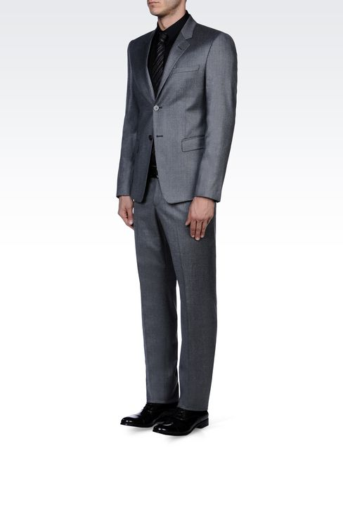 TWO-BUTTON SUIT IN STRETCH WOOL: Two buttons suits Men by Armani - 2