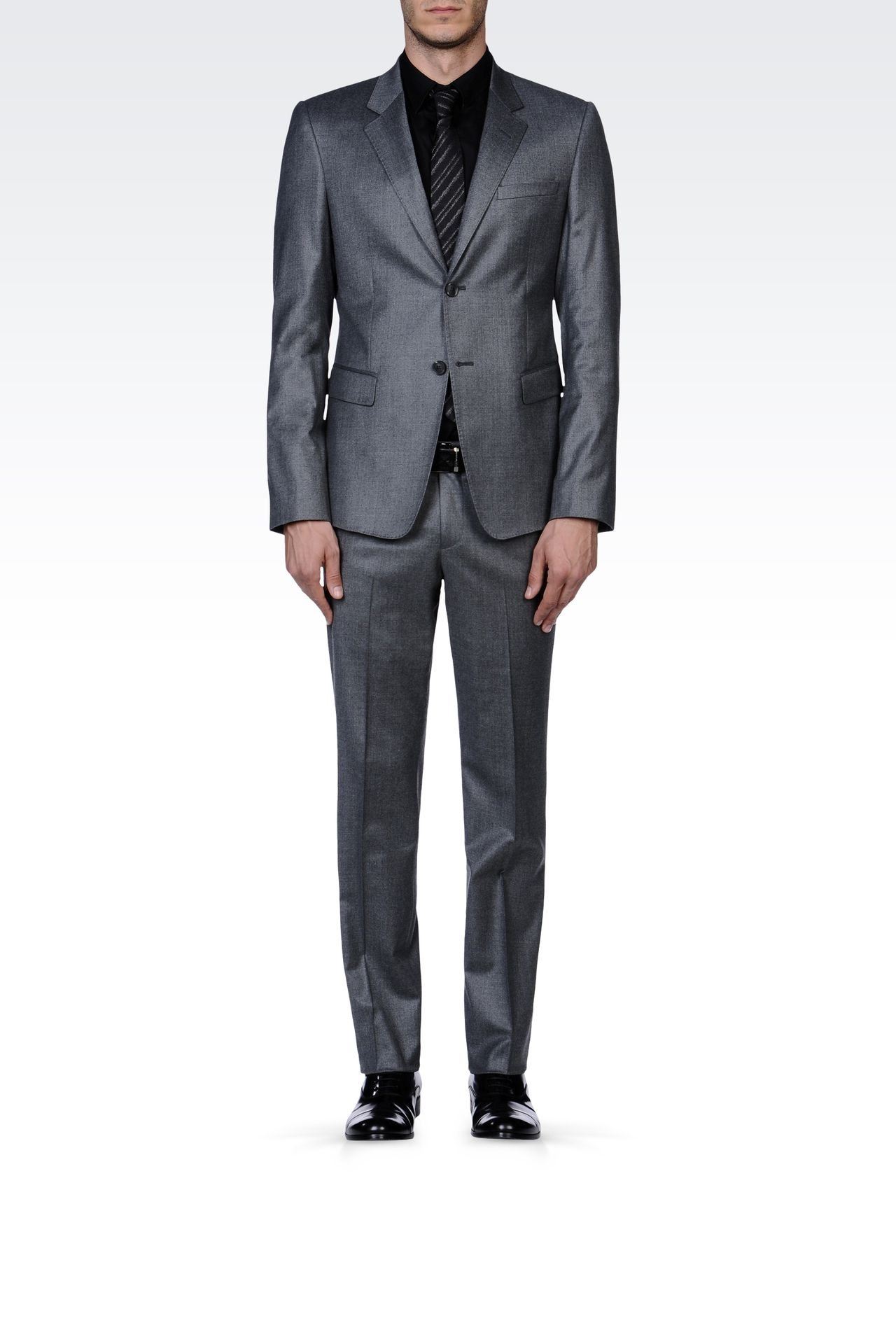TWO-BUTTON SUIT IN STRETCH WOOL: Two buttons suits Men by Armani - 0