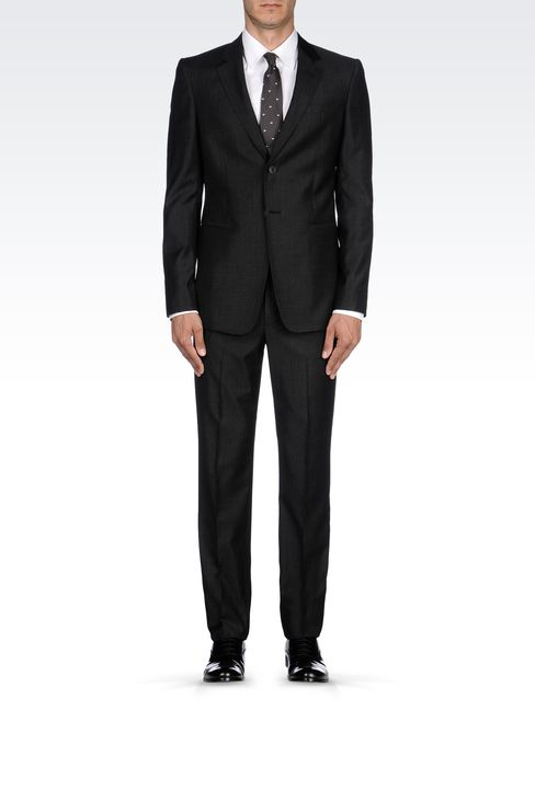 TWO-BUTTON SUIT IN VIRGIN WOOL: Two buttons suits Men by Armani - 1