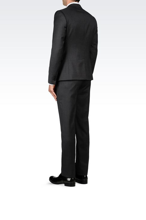 WOOL SUIT WITH MICRO-PATTERN DESIGN: One button suits Men by Armani - 3