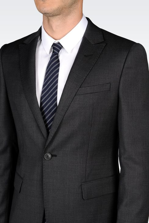 WOOL SUIT WITH MICRO-PATTERN DESIGN: One button suits Men by Armani - 4