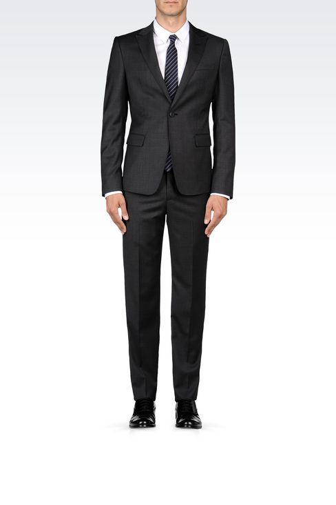 WOOL SUIT WITH MICRO-PATTERN DESIGN: One button suits Men by Armani - 1
