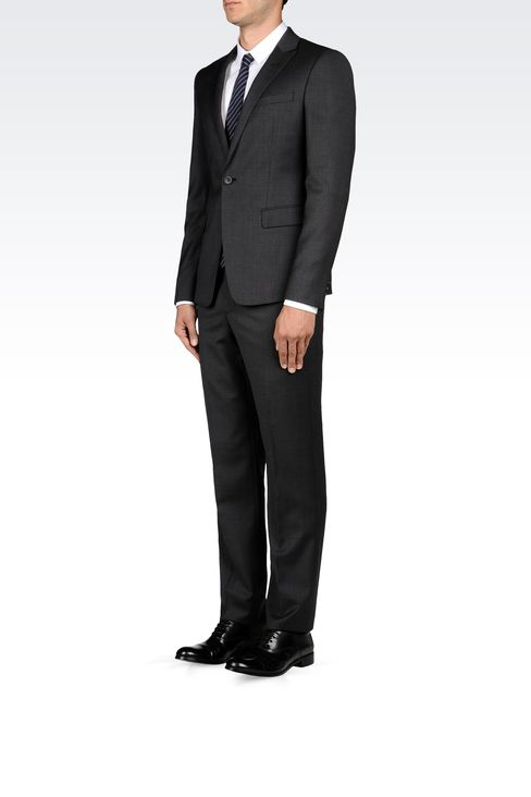 WOOL SUIT WITH MICRO-PATTERN DESIGN: One button suits Men by Armani - 2