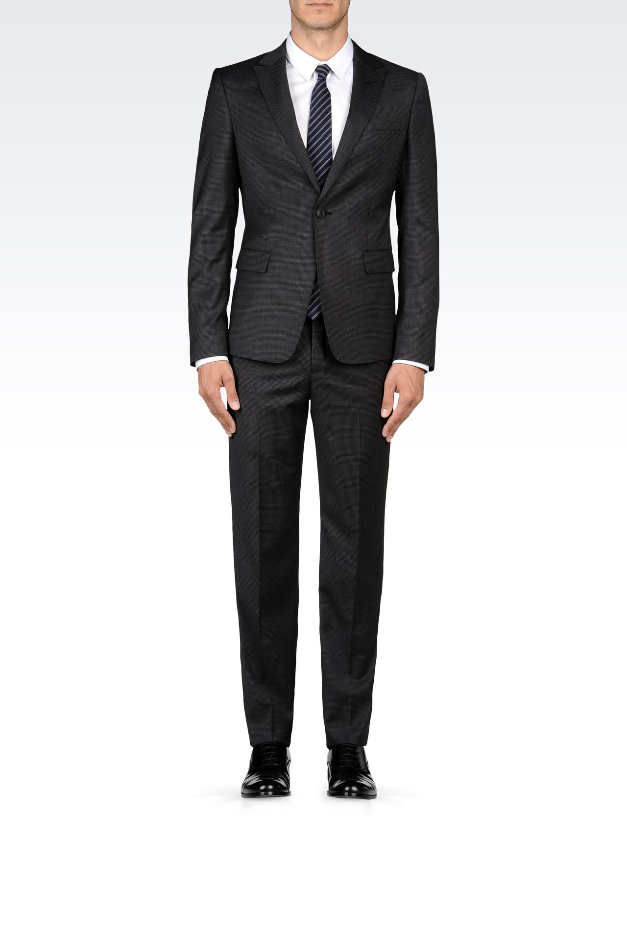 WOOL SUIT WITH MICRO-PATTERN DESIGN: One button suits Men by Armani - 0