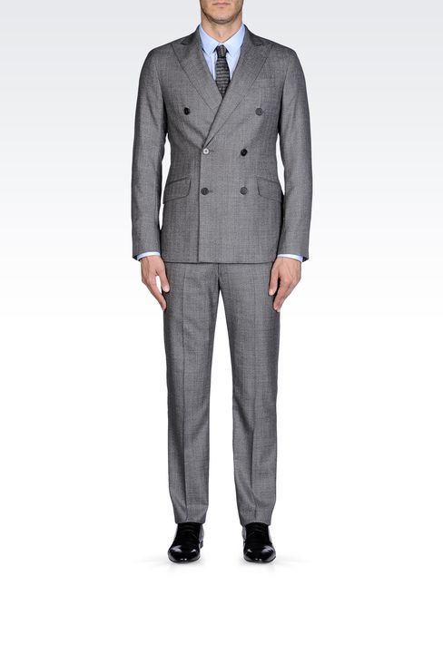 Armani Collezioni Men DOUBLE-BREASTED HERRINGBONE WOOL DROP 7 SUIT ...