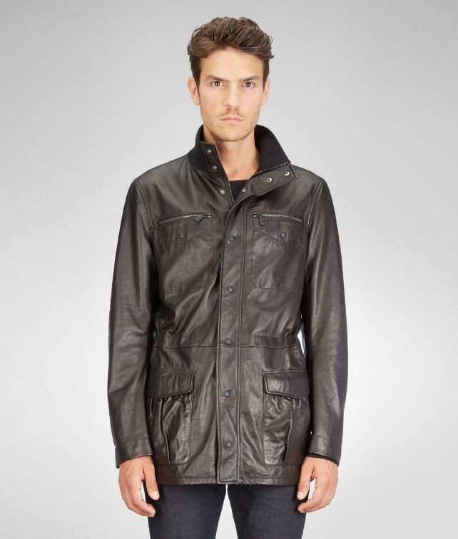BOTTEGA VENETA PARKA IN NERO LAMBLEATHER Coat or Jacket U fp