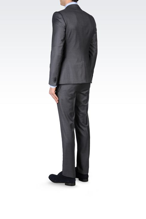 SLIM FIT SUIT IN COMBED WOOL: One button suits Men by Armani - 3