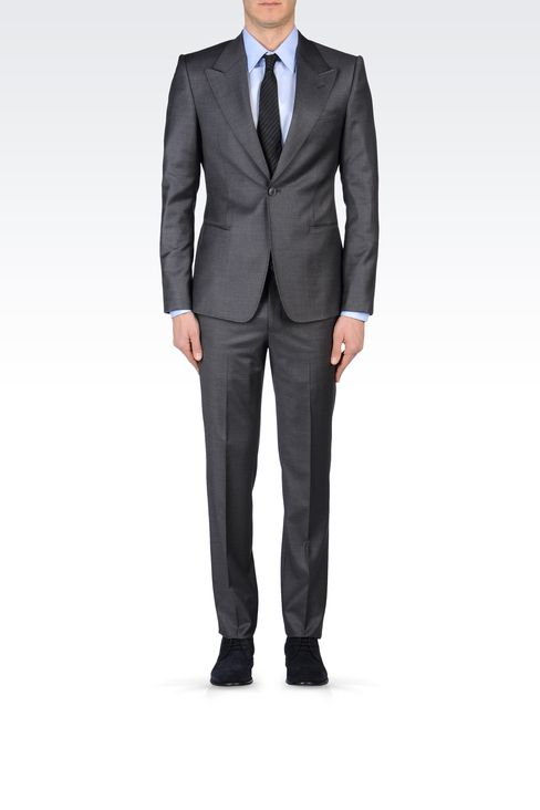 SLIM FIT SUIT IN COMBED WOOL: One button suits Men by Armani - 1