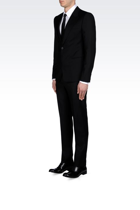 SLIM FIT SUIT IN COMBED WOOL: One button suits Men by Armani - 2