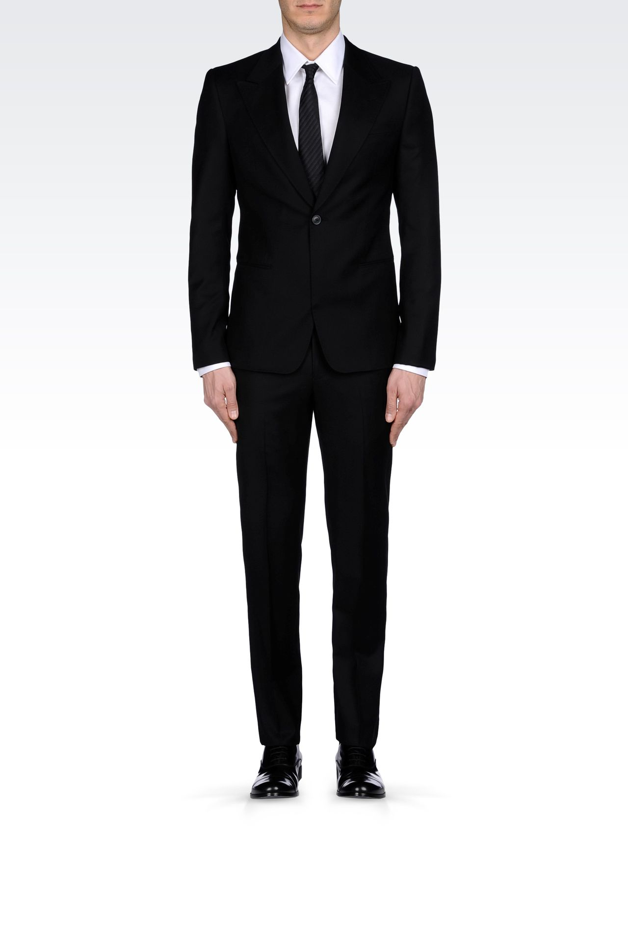 SLIM FIT SUIT IN COMBED WOOL: One button suits Men by Armani - 0