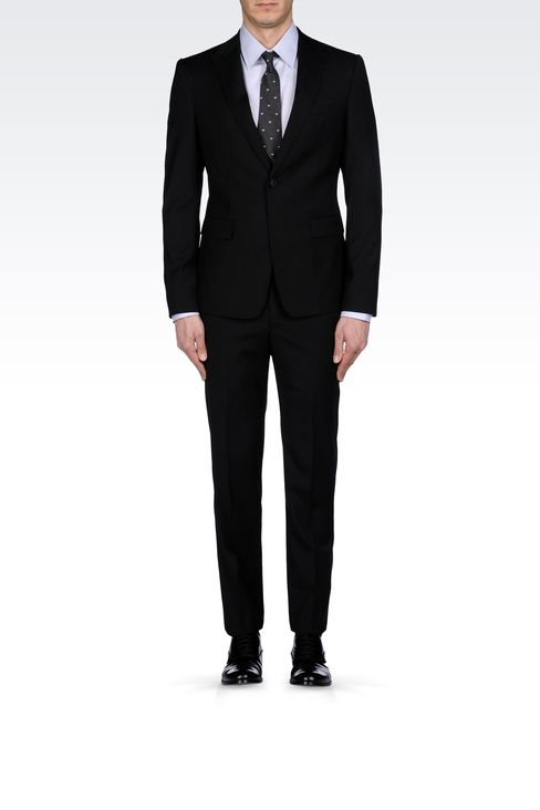 MICRO-PINSTRIPE SUIT IN VIRGIN WOOL: One button suits Men by Armani - 1