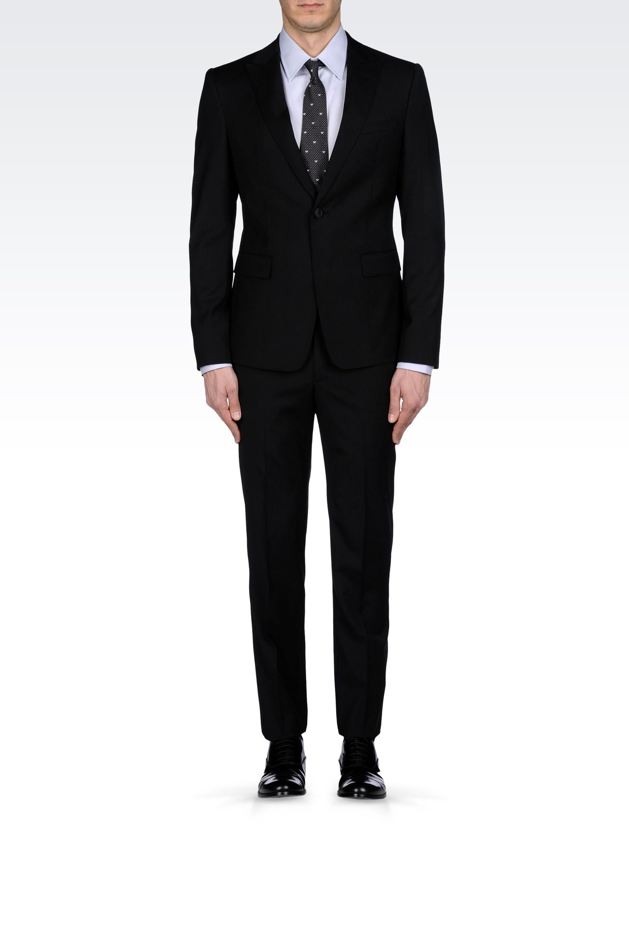 MICRO-PINSTRIPE SUIT IN VIRGIN WOOL: One button suits Men by Armani - 0