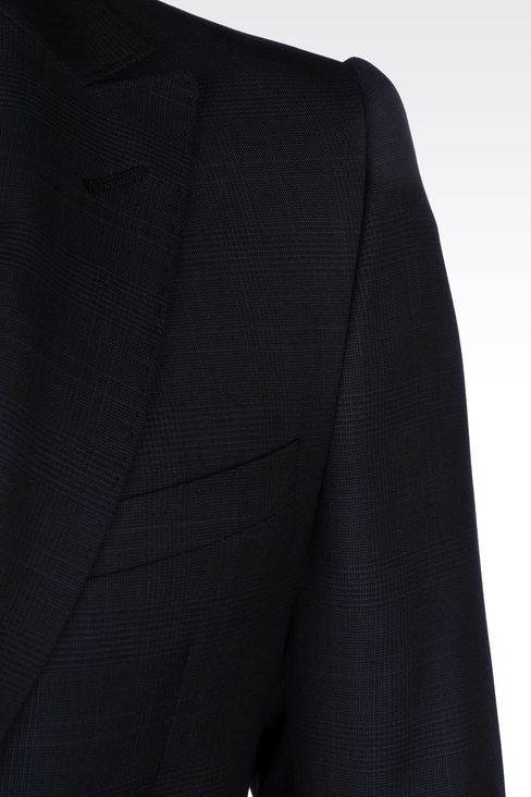 PRINCE OF WALES CHECK SUIT IN VIRGIN WOOL: One button suits Men by Armani - 4