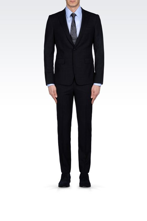 PRINCE OF WALES CHECK SUIT IN VIRGIN WOOL: One button suits Men by Armani - 1