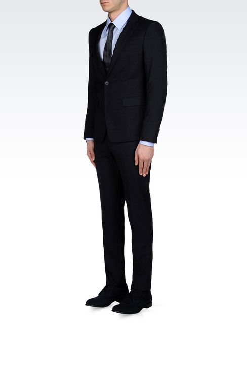 PRINCE OF WALES CHECK SUIT IN VIRGIN WOOL: One button suits Men by Armani - 2
