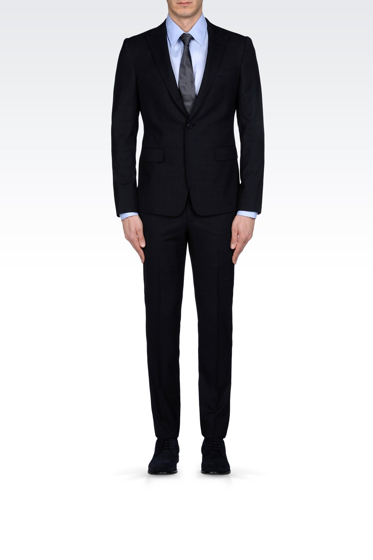 PRINCE OF WALES CHECK SUIT IN VIRGIN WOOL: One button suits Men by Armani - 0